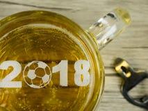 Кубок мира футбола в пене пива Стоковая Фотография RF