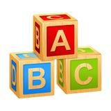 Кубы a алфавита, b, c иллюстрация вектора