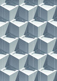 кубы влияния 3D реалистические крыть черепицей черепицей с тенями Стоковые Изображения