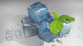 Кубы и мята льда иллюстрация вектора