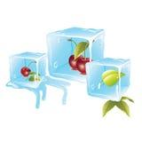 Кубы льда вишни бесплатная иллюстрация