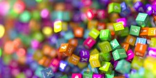 Кубы Infnite с значками Стоковые Фотографии RF