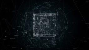 Куб в анимации петли сферы безшовной, видео 4K иллюстрация штока