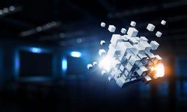 Куб в современном офисе Мультимедиа Стоковые Фотографии RF