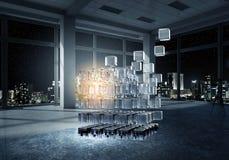Куб в современном офисе Мультимедиа Стоковое фото RF