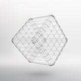 Куб линий и точек Куб линий Стоковая Фотография
