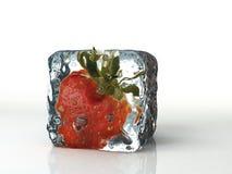 Куб и клубника льда изолированные на белой предпосылке Стоковое Изображение RF