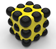 Куб конкретного объекта с сферами Стоковое фото RF