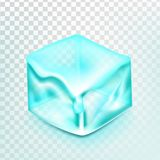 Куб льда изолировал вектор Transpatrent Влияние дизайна замораживания Frost Свежая часть Символ Aqua квадрата яркий реалистическо бесплатная иллюстрация