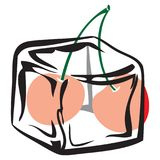 Куб льда с вишней Стоковое фото RF