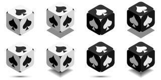 Куб с лопатой в черно-белых цветах, значком карточки вектора играть лопату иллюстрация штока