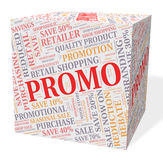 Куб Promo показывает сбережения дешево и скидки иллюстрация вектора