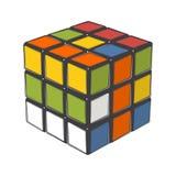 Куб Rubik изолированный на белой предпосылке Искусство цветного барьера конструкция самомоднейшая Стоковые Фото