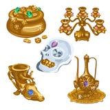 Кувшины, драгоценный череп и люстра, 5 деталей Стоковые Изображения RF