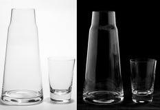 Кувшин и стекло на белизне и черноте стоковые фотографии rf