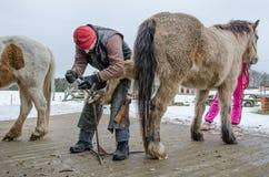 Кузнец регулирует копыта лошади стоковая фотография