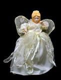 Кукла ангела рождества Fairy изолированная на черноте Стоковое Изображение