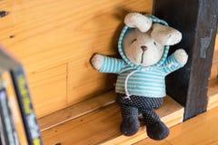 Кукла кролика на книжных полках Стоковые Изображения