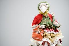 Кукла куртки белого рождества птицы глины фарфора Стоковая Фотография