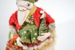 Кукла куртки белого рождества птицы глины фарфора Стоковая Фотография RF