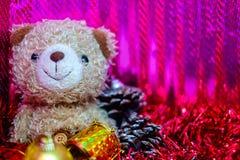 Кукла медведя с украшением рождества и Нового Года Стоковые Фото