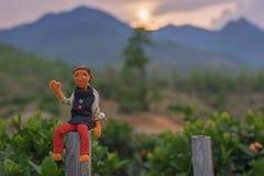 Кукла распологая на загородку стоковая фотография rf