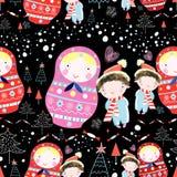 Куклы и дети текстуры зимы иллюстрация вектора