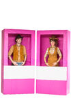 Куклы мальчика и девушки в коробке Стоковая Фотография RF