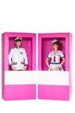 Куклы мальчика и девушки в коробке Стоковое фото RF
