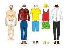 Кукла бумаги ` s людей с одеждами Бесплатная Иллюстрация