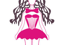 Кукла в розовом платье Стоковые Изображения