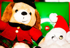 Кукла собаки Chrismas и кукла Smurf Стоковые Фото