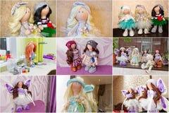 Кукла сувенира handmade с естественными волосами Стоковая Фотография