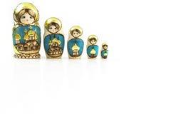 Куклы Babushka собрания польские традиционные в линии. стоковые изображения