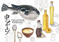 Кулинарный эскиз с fugu рыб Стоковое Изображение