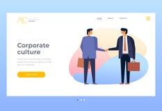 Культура корпоративных отношений трястить рук бизнесменов Отношения партнеров в деле иллюстрация вектора