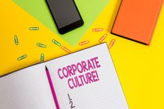 Культура текста почерка корпоративная Концепция знача убеждения и идеи что компания имеет, который лист чистого листа бумаги деля стоковое изображение rf