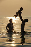 купает seaborne семьи удачливейшее Стоковое Изображение