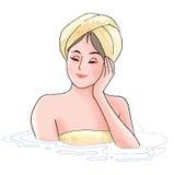 купать женщину Стоковые Изображения RF