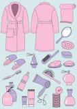 Купальный халат и предметы для ванной комнаты Стоковые Изображения RF