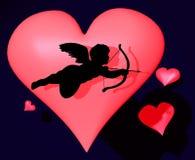 купидон 3d с сердцем Стоковая Фотография RF