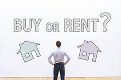 Купите или арендуйте концепцию, вопрос о недвижимости Стоковое Изображение