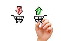 Купите или продайте концепцию магазинных тележкеа стоковое фото rf