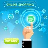 Купите теперь онлайн концепцию покупок иллюстрация вектора