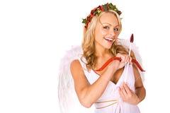 Купидон: Искать влюбленность с луком и стрелы Стоковая Фотография