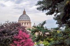 Купол базилики St Peter и сады Ватикана, Рим, Италия стоковое фото