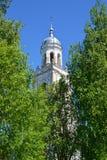 Купол колокольни собора святой троицы XVIII век среди деревьев Poshekhonje, зона Yaroslavl стоковая фотография