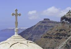 Купол церков в Fira, Santorini, Греции Стоковое Изображение