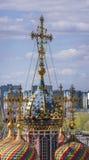 Купол и крест Церковь собора благословленной девственницы Стоковые Изображения