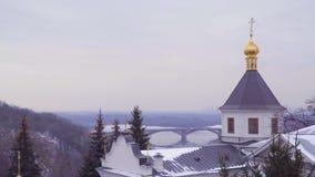 Купол Киева Pechersk Lavra сток-видео